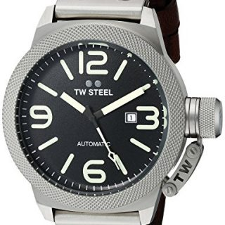 TW Steel Men's Stainless Steel Watch with Brown Leather Band