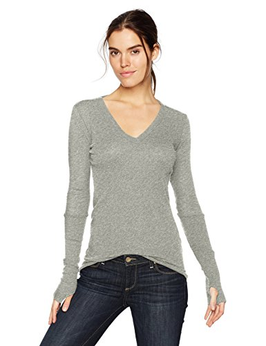 Enza Costa Women's Cashmere Long Sleeve Cuffed V-Neck Top with Thumbhole, Light Heather Grey, L