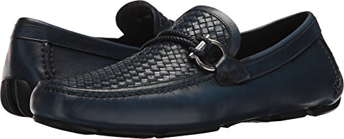 Salvatore Ferragamo Men's Front Side Bit Woven Loafers, Blue, 10.5 D(M) US