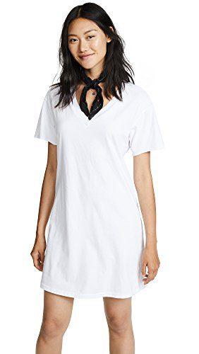 Stateside Women's V Neck Tee Dress, White, Small