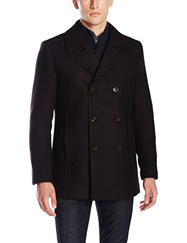 Ted Baker Men's Biza Double Breasted Peacoat, Red, 4/Large