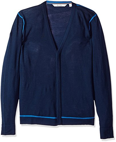 Robert Graham Men's Hugo Long Sleeve Sweater Cardigan, Navy, 2XLARGE