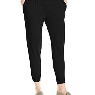 Michael Stars Women's French Terry Jogger Pant with Ruched Hem, Black, XS