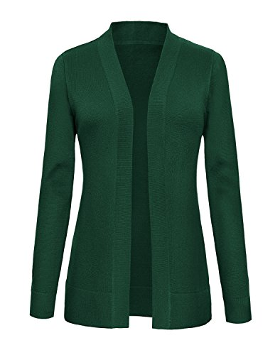 Urban CoCo Women's Long Sleeve Open Front Knit Cardigan Sweater (XL, Dark Green)