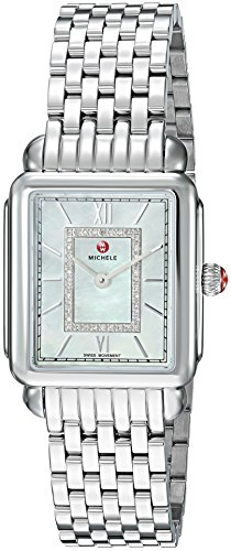 Michele Women's 'Deco Head' Swiss Quartz Stainless Steel Casual Watch, Color: Silver-Toned