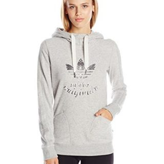 adidas Originals Women's LA Slim Hoody, Medium Grey Heather, X-Small