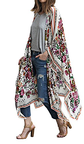 Relipop Women's Chiffon Blouse Loose Tops Beach Kimono Floral Print Cardigan (4X-Large, Type 8)