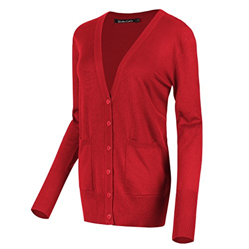 Urban CoCo Women's Long Sleeve Button Down Basic Cardigan Sweater (S, Red)