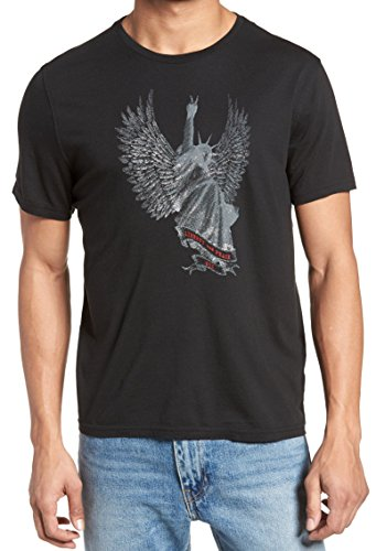 John Varvatos Men's Short Sleeve Liberty Wings NYC Graphic T-Shirt Large Black