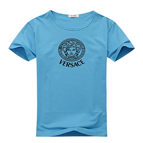 Versace Jeans Logo For Men's Printed Short Sleeve Tee Tshirt XX-Large Light Blue