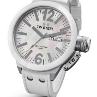 TW Steel Men's CEO Canteen White Leather Strap Watch