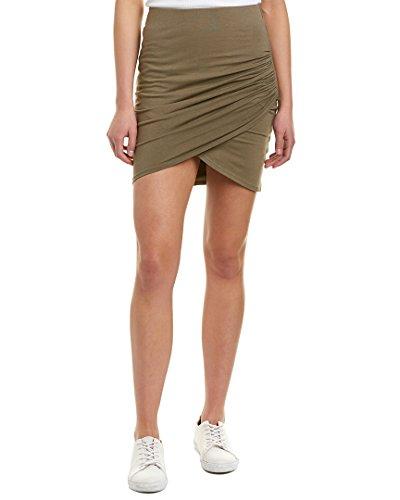 Michael Stars Women's Cotton Lycra Cross Front Mini Skirt, Olive Moss, Medium