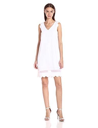 A X Armani Exchange Women's Scallop Sleeveless Shift Dress, White, 8