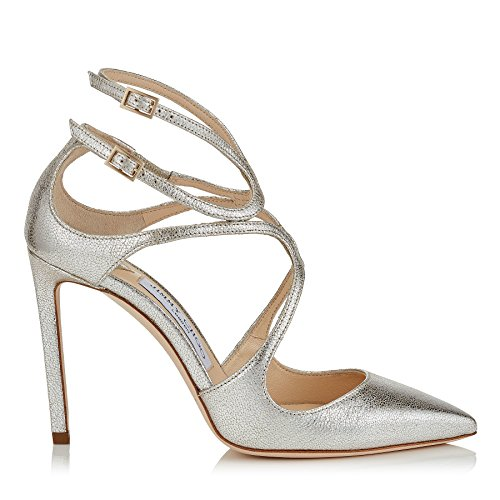 JIMMY CHOO Women's Lancer100platino Silver Leather Sandals