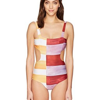 Mara Hoffman Women's Mina Cut-Out One Piece Swimsuit, Siena Ivory/Multi, Medium