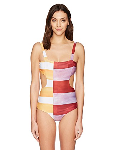 Mara Hoffman Women's Mina Cut-Out One Piece Swimsuit, Siena Ivory/Multi, Medium