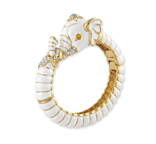 Kenneth Jay Lane Gold Crystal and White Enamel Elephant Bracelet