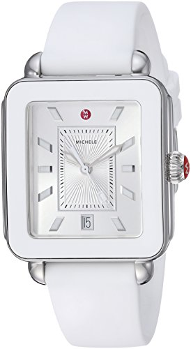 Michele Women's Swiss Quartz Stainless Steel and Rubber Casual Watch, Color:White