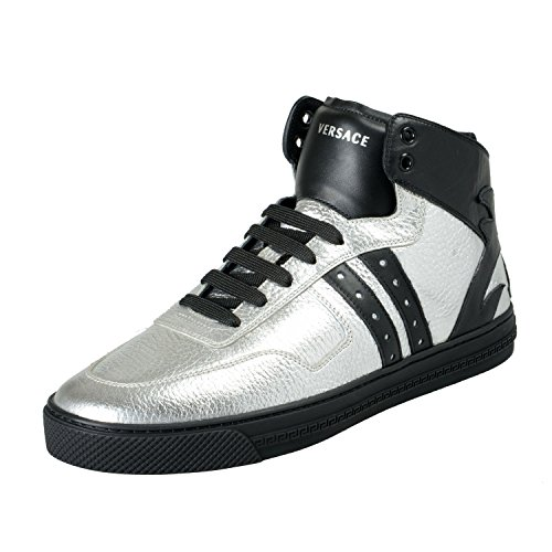 Versace Men's Silver & Black Leather Hi Top Fashion Sneakers Shoes US 10 IT 43