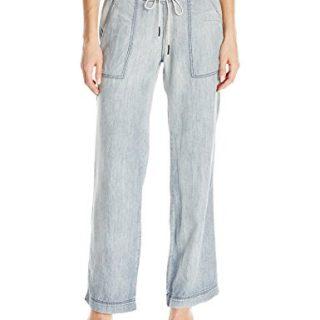Michael Stars Women's Linen Denim Tencel Wide Leg Pant, Vintage Wash, L