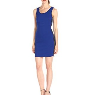 A|X Armani Exchange Women's Scoop Neck Sleeveless Above The Knee Bodycon Dress, Cobalt, Small