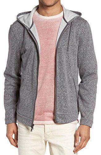 John Varvatos Men's Zip Front Marled Hoodie XX-Large Med Grey