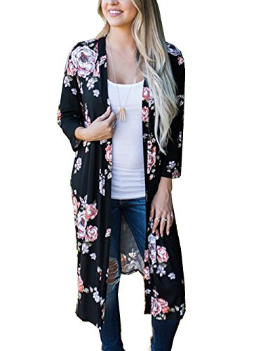 Relipop Womens Irregular Floral Print Kimono Cardigans Casual Cover up Coat Outwear (Large, Type 10)