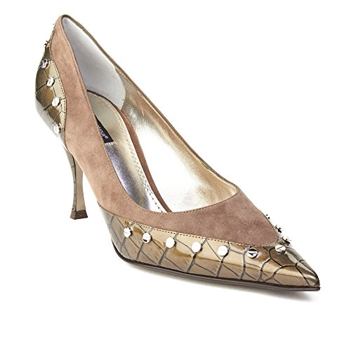 Dolce & Gabbana Women's Pointed Toe Crocodile Skin Pump Grey