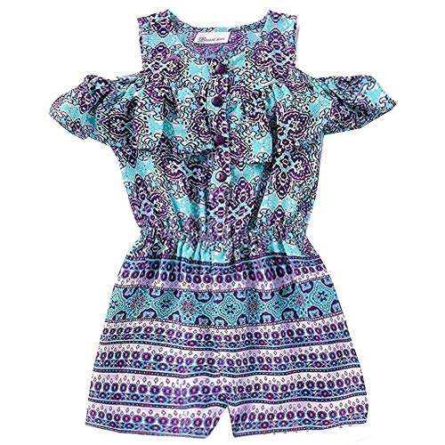 Bonnie Jean Big Girls Purple Art Deco Print Ruffle Cold Shoulder Romper 16