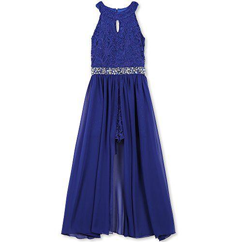 Speechless Big Girls' High Neck Maxi Romper Dress, Royal Blue, 14