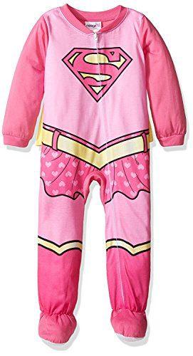 Supergirl Girls Costume Sleeper Pajamas with Cape (24M)