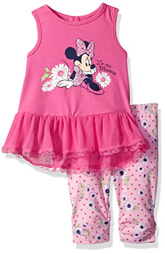 Disney Girls' 2 Piece Minnie Mouse Crinkle Chiffon Capri Legging Set, Pink, 18m
