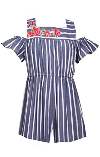 Bonnie Jean Navy & White Striped Chambray Romper, Size 5