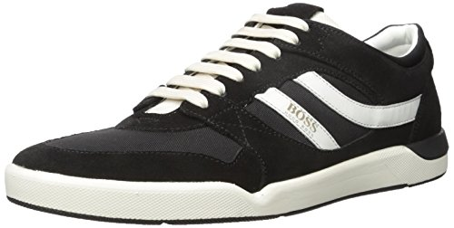 Hugo Boss Men's Stillness Suede Mesh Sneaker,Black,9 Medium US