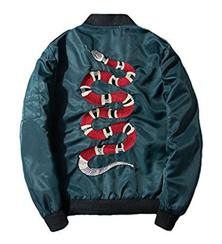 Chartou Men's Classic Snake-Embroidery Flight Baseball Jacket Windbreaker (Medium, Green)