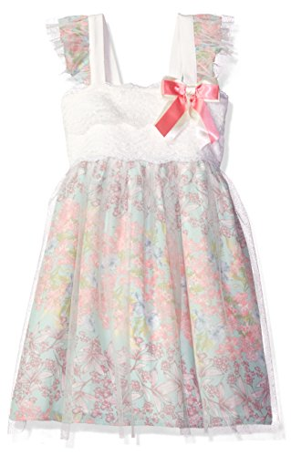 Bonnie Jean Toddler Girls' Sleeveless Lace to Mesh Over Chiffon Babydoll Dress, Mint, 2T