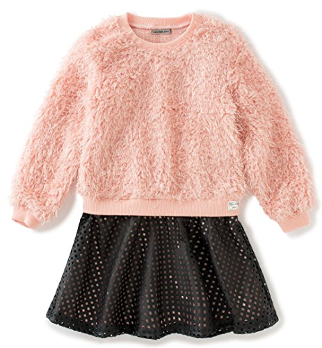 Calvin Klein Little Girls' Toddler Curly Knit Body with Pleather Skirt, Peach, 3T