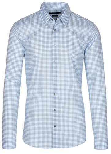 Gucci Men's Sky Blue Vichy Check Print Slim Fit Button Down Dress Shirt, Blue, 15