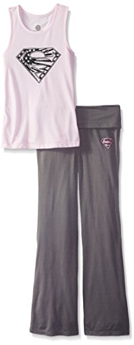 DC Comics Girls 'Superman Supergirl Americana' Yoga Pajama Set, Pink, 10/12