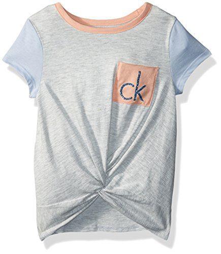 Calvin Klein Little Girls' Calvin Graphic Tee, Light Grey Heather, 6X