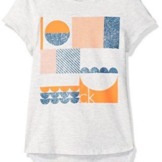 Calvin Klein Big Girls' Calvin Graphic Tee, Light Grey Heather, Medium (8/10)