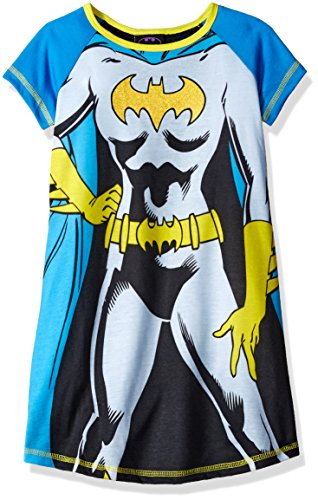 DC Comics Girls' Batgirl Short Sleeve Pajama with Cape, Blue/Black, 6/6X