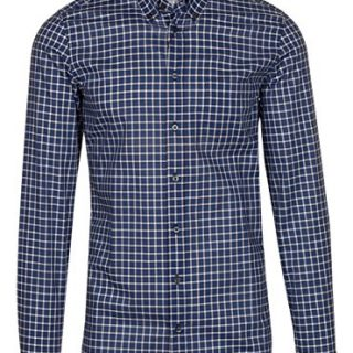 Gucci Men's Blue Check Twill Classic Button Down Dress Shirt, Blue, 16