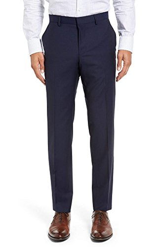 Hugo Boss Slim Leg Trousers Virgin Wool Flat Front Solid Dark Royal Blue Men's Pants by Hugo (32)