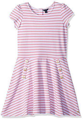 Tommy Hilfiger Big Girls' Stripe Dress, Pink Carnation, Medium