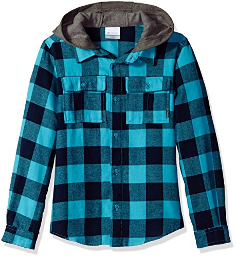 Columbia Big Girls' Boulder Ridge Flannel Hoodie, Pacific Rim Buffalo Plaid, Medium