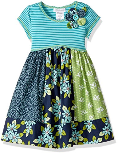 Bonnie Jean Little Girls' Knit to Cotton Poplin Print Dress, Blue Floral Pannels, 6
