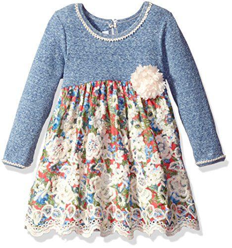 Bonnie Jean Little Girls' Knit Floral Printed Voile Scallop Border Dress, Blue, 6