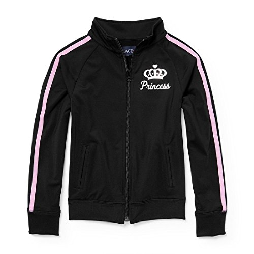 The Children's Place Big Girls' Track Jacket, Black, S (5/6)