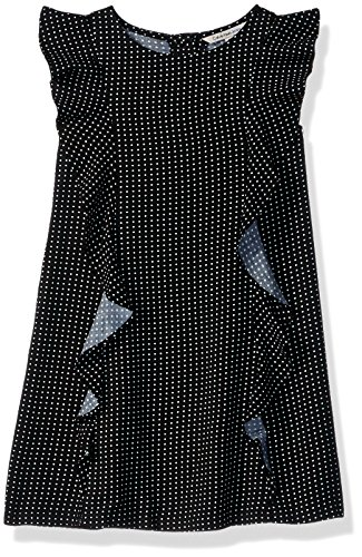 Calvin Klein Little Girls' Cascading Flounce Dress, Anthracite, 6